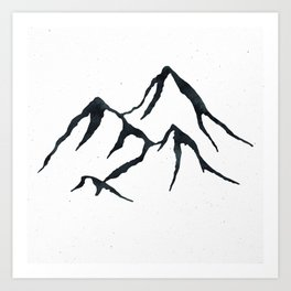 MOUNTAINS Black and White Art Print