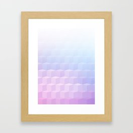 Pastel Cube Pattern Ombre 1 - pink, blue and vi Framed Art Print