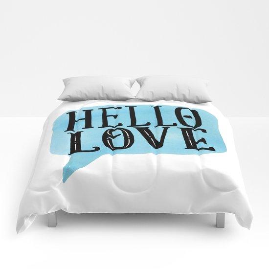 Hello Love Lettering Comforters