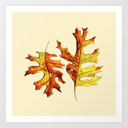 Ink And Watercolor Painted Dancing Autumn Leaves Art Print