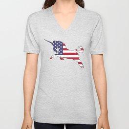 "Unicorn ""American Flag"" Unisex V-Neck"