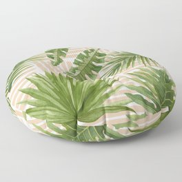 Tropical Leaves Watercolor Green and Terra Cotta Floor Pillow