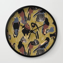 Birds of Prey in Gold Wall Clock