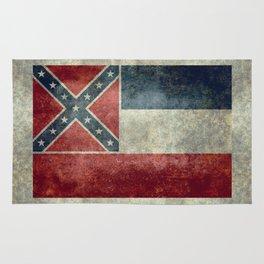 Mississippi State Flag in Distressed Grunge Rug