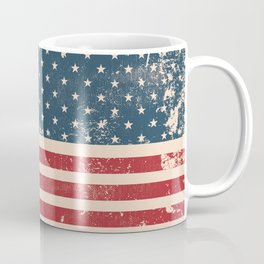 Vintage Distressed American Flag Coffee Mug