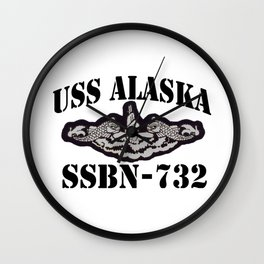 USS ALASKA (SSBN-732) BLACK LETTERS Wall Clock