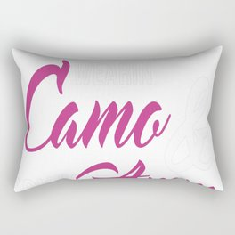 Just a Country Chick Wearing Camo and Rockin Ammo T-shirt Rectangular Pillow