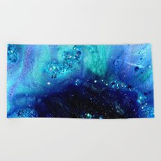 teal glitter abstract Beach Towel