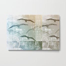 Free Like A Bird Seagull Mixed Media Art Metal Print