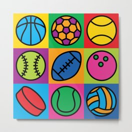 Sport Ball Pop Art Metal Print