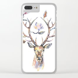 Deer's head with magnolia flowers on the horns. Clear iPhone Case