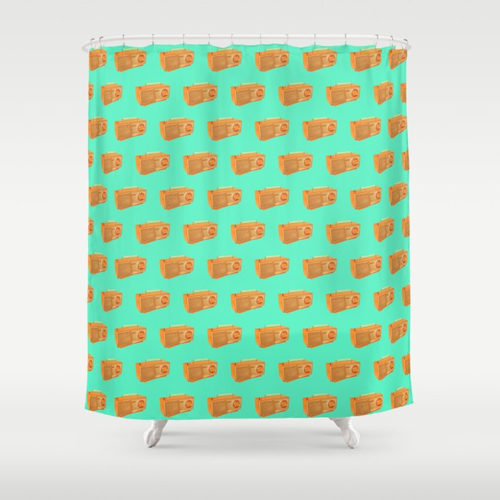 Classic Retro Vintage Atlas Radio Pattern Orange And Green Shower Curtain By Marcanton
