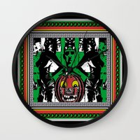 lovecraft Wall Clocks featuring LOVECRAFT & LADIES& VINTAGE JACK-O-LANTERN by Kathead Tarot/David Rivera