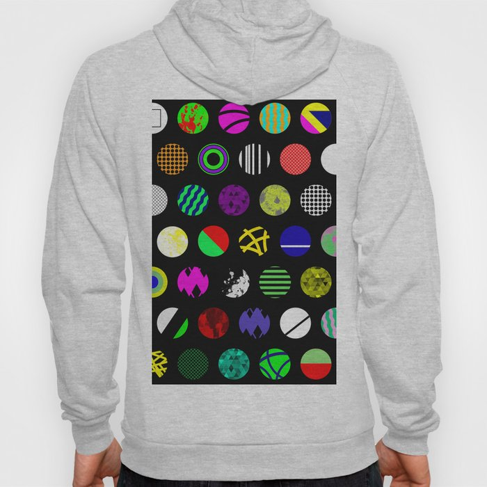 Eclectic Circles - Abstract collage of random, colourful, bold, eclectic circles Hoody