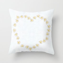 Daisy chains and daisy hearts Throw Pillow