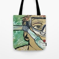 kevin russ Tote Bags featuring Kevin Search by K. Fry Illustration