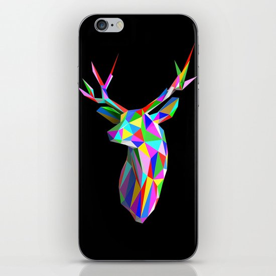 3D Stag Black Background iPhone & iPod Skin