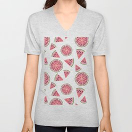 Modern pink green watercolor hand painted watermelon pattern Unisex V-Neck
