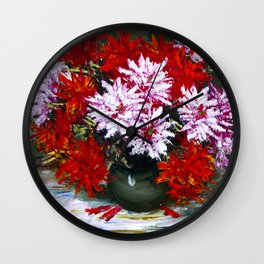Holiday chrysanthemums Wall Clock