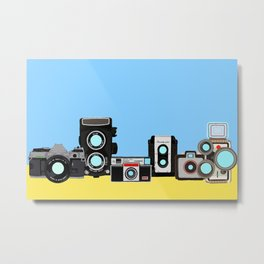 Cameras Blue and Yellow Metal Print
