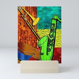 Earthy Music Instrument Collage with saxophone, drums, and trumpet Mini Art Print