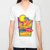 surfer V-neck T-shirts featuring Surfer by Roberlan Borges
