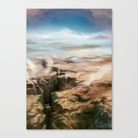 magic the gathering Canvas Prints featuring Plains - Magic: The Gathering by vmeignaud