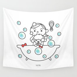 The little girl take a bath. Wall Tapestry