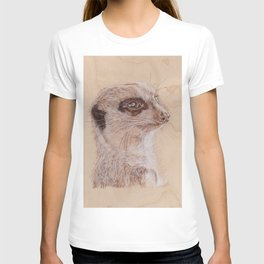 Meerkat Portrait - Drawing by Burning on Wood - Pyrography Art T-shirt