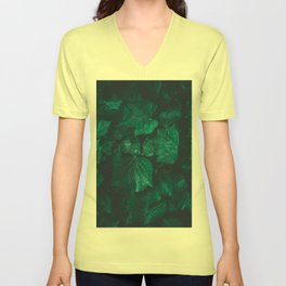 Dark emerald green ivy leaves water drops Unisex V-Neck
