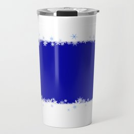 White snowflakes blue blurry abstract Travel Mug