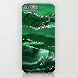 Glamour Emerald Bohemian Watercolor Marble With Silver Glitter Veins iPhone Case