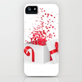 Opening gift box for Valentines day iPhone Case