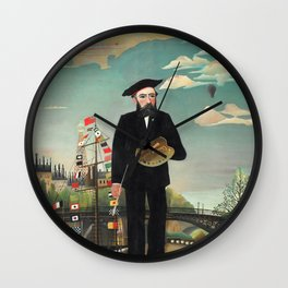 "Henri Rousseau ""Self Portrait from L'ile Saint Louis"", 1890 Wall Clock"