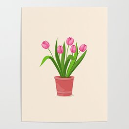 pink tulips in the pot Poster