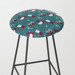 Retro Kitchen - Teal and Raspberry Bar Stool