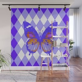 ABSTRACTED PURPLE BUTTERFLY  &  LILAC ARGYLE PATTERN Wall Mural