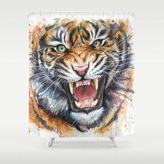 Tiger Watercolor Wild Animal Jungle Animals Shower Curtain