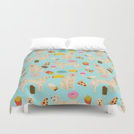 Golden Retriever donuts french fries ice cream pizzas funny dog gifts dog breeds Duvet Cover