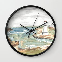 Maritime Lighthouse Seascape Watercolor Wall Clock