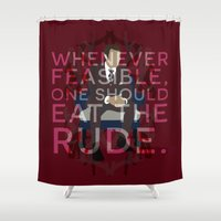 hannibal Shower Curtains featuring Hannibal - Hannibal Lecter by MacGuffin Designs