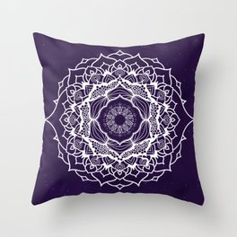 7 Chakras Mandala - WO Purple BG Throw Pillow