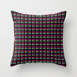 Four Colors Triangle Seamless Pattern Black Background Throw Pillow