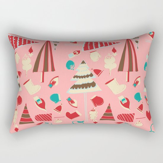 Vintage Christmas Pink Rectangular Pillow