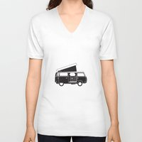 vw bus V-neck T-shirts featuring VW bus by kirsten bingham