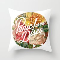 panic at the disco Throw Pillows featuring Panic! at the disco round vintage flowers by Elianne