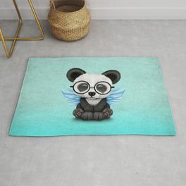 Cute Panda Cub with Fairy Wings and Glasses Blue Rug