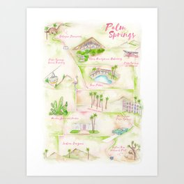 Palm Springs Watercolor Map Art Print