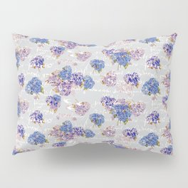 Hydrangeas and French Script with birds on gray background Pillow Sham
