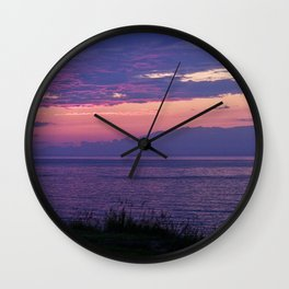 Purple Evening Clouds at Sea Wall Clock